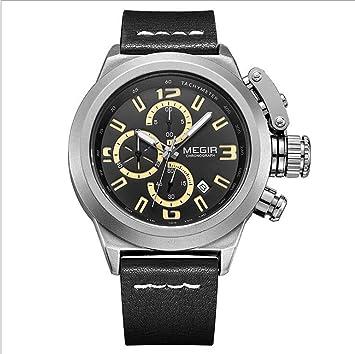 Megir Men Watch Cronógrafo Luminoso Casual Militar Relojes de Pulsera de Cuarzo con Banda de Cuero 2029,Blackwhite: Amazon.es: Electrónica