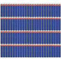 Sunshine D 100 Pcs Mousse Fléchettes Recharge Balle de Nerf pour Nerf N-grève Elite série Blasters, Bleu Mousse 7.2cm