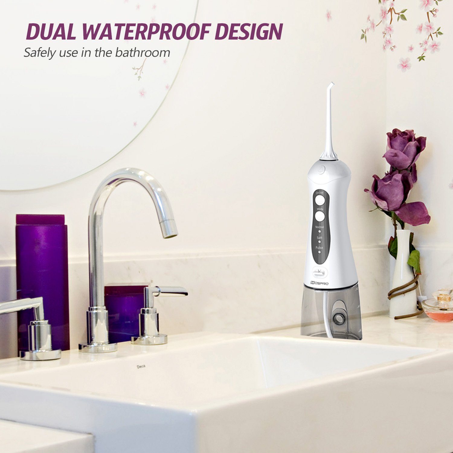 Water Flosser Professional Cordless Dental Oral Irrigator - Portable and Rechargeable IPX7 Waterproof 3 Modes Water Flossing with Cleanable Water Tank for Home and Travel, Braces & Bridges Care by MOSPRO (Image #5)