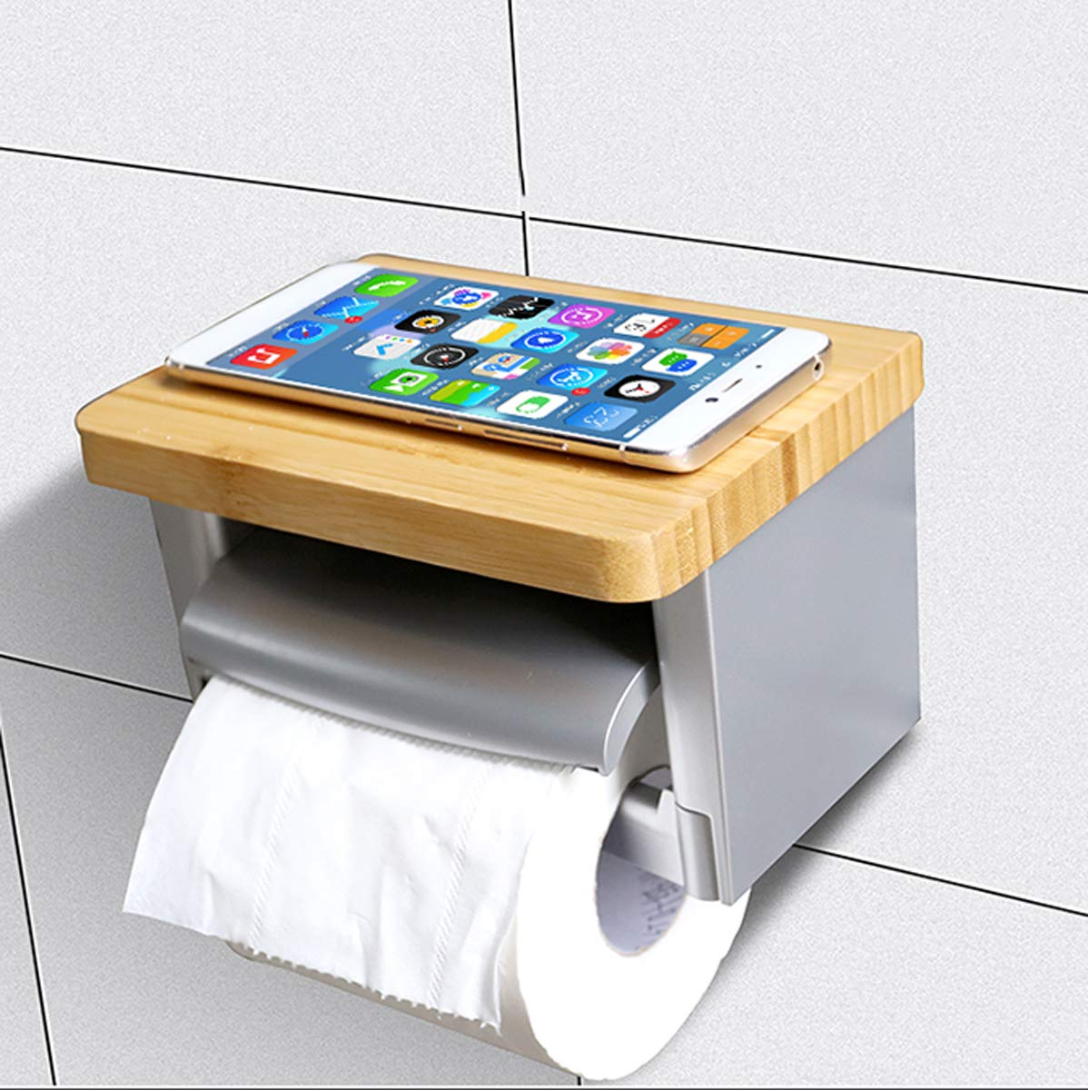 Q&F Toilet Paper Holder Bathroom Tissue Holder With Mobile Phone Storage Shelf Tissue Roll Hanger-wall Mount,Punch Free