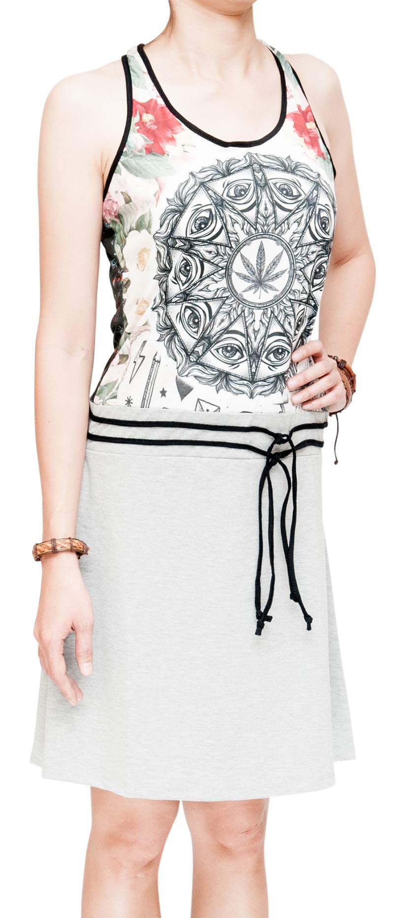 Healing Leaf Wisdom Eyes Mandala Hippie Summer Dress Gray