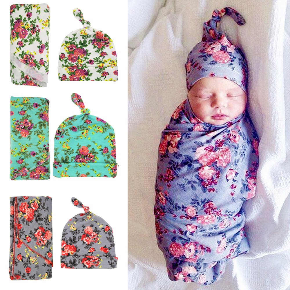 Babe Maps Newborn Swaddle Receiving Blankets, Swaddle Cocoon, Blanket& Hat Set