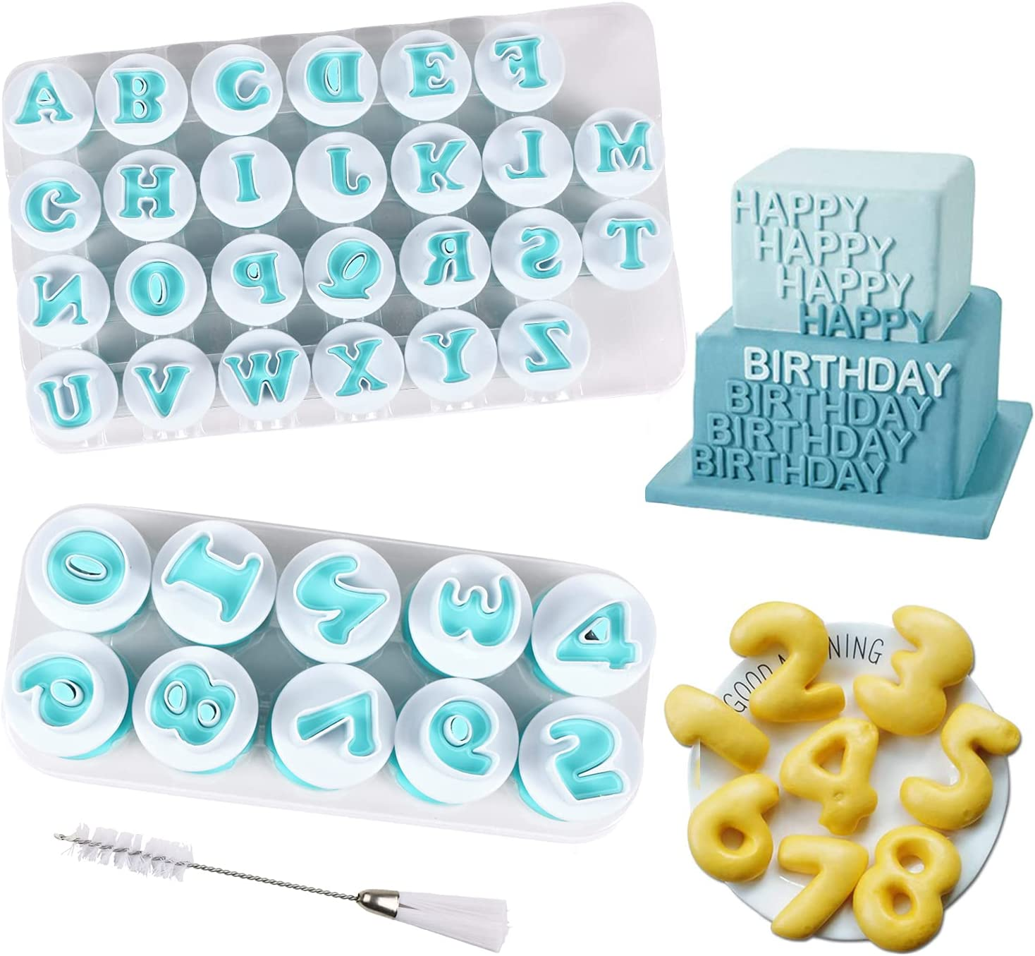 Alphabet Letter Numbers Cake Mould Set, BENBO 36 Pieces Fondant Cake Sugar Craft Cookies Stamp Impress Embosser Plunger with Cleaning Brush Cookie Cutter Mold Biscuit Decorating Tools