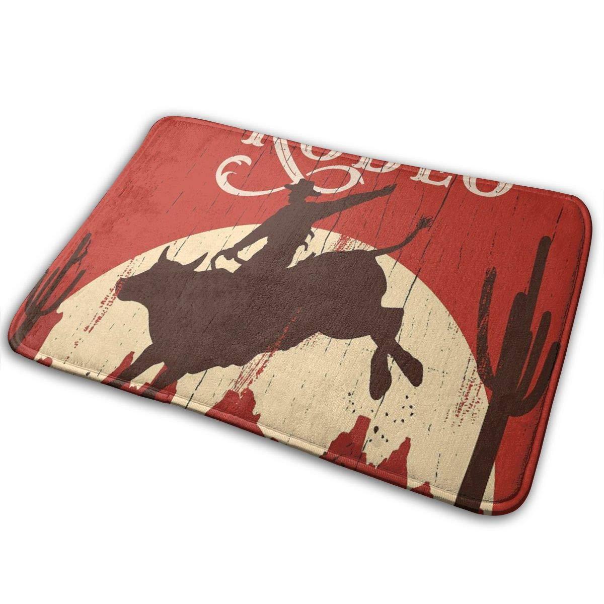 Westen Cowboy Cow Skull On Rock Bathroom Mat Door Rug Home Decor Carpet Non-Slip