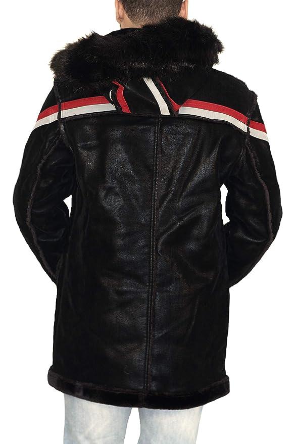 692365142ae763 Jordan Craig Tuscany Striped Shearling Jacket Black at Amazon Men s Clothing  store
