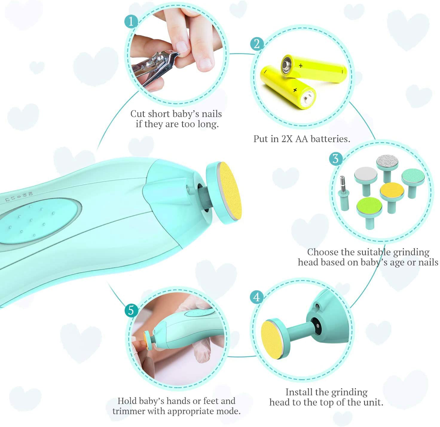Baby Nail Trimmer, Zalaxy Safe Electric Baby Nail File Nail Clipper for Newborn or Toddler Kids Toes and Fingernails - Care, Polish and Trim (1_Sky Blue)