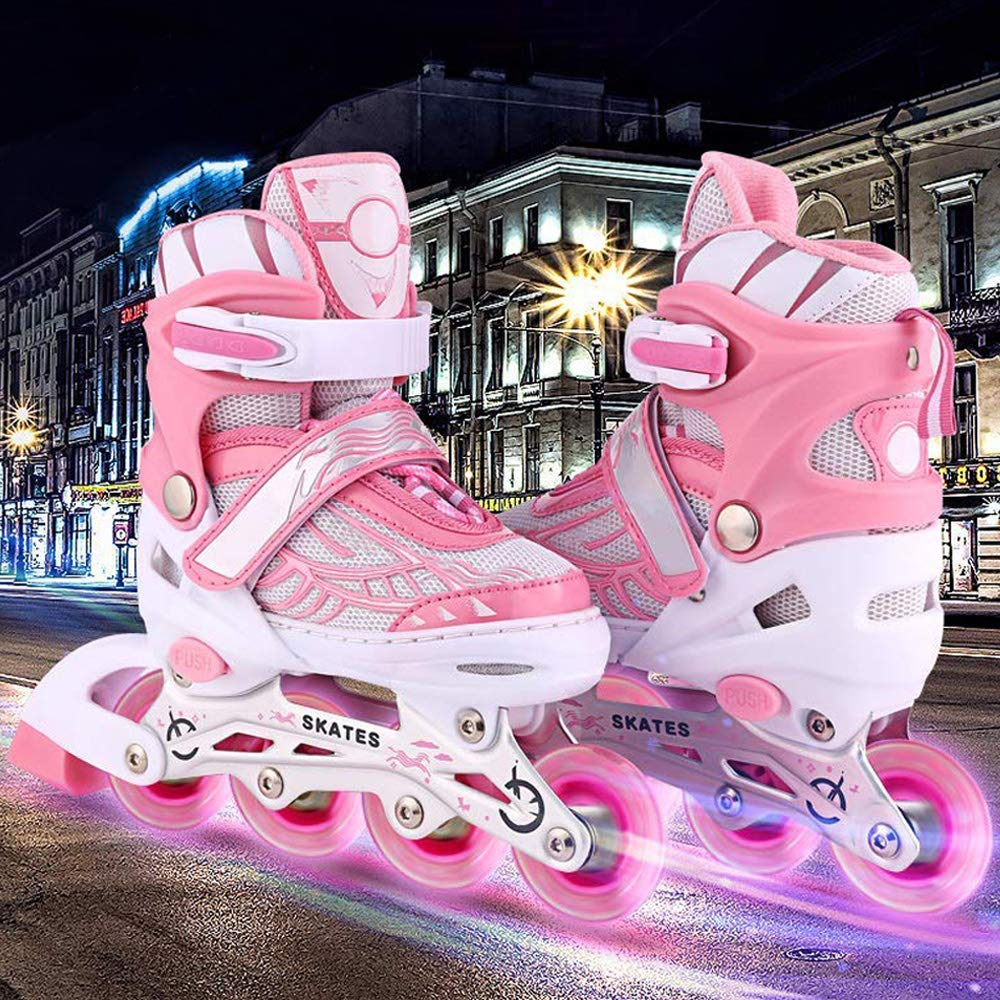 Aceshin Adjustable Inline Skates for Kids, Safe and Durable, Illuminating Rollerblades for Boys and Girls (Pink & White, US-S-12J-2)
