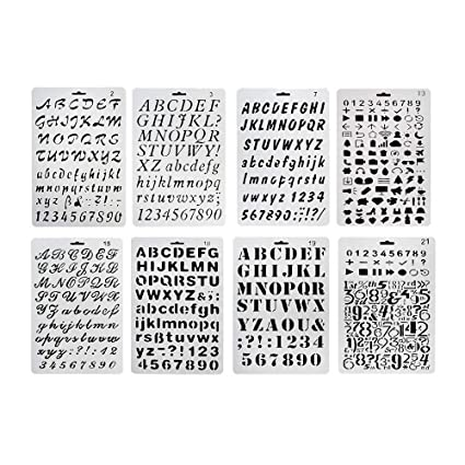 plastic number and letter stencils templates set for painting and crafts set of 8