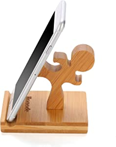 Homode Cell Phone Stand, Bamboo Wood Phone Holder and Cute Phone Stand Compatible with iPhone 6 6s 7 8 X Plus, Ipad and Tablets, Bamboo Desk Organizer Accessories (Kung fu)