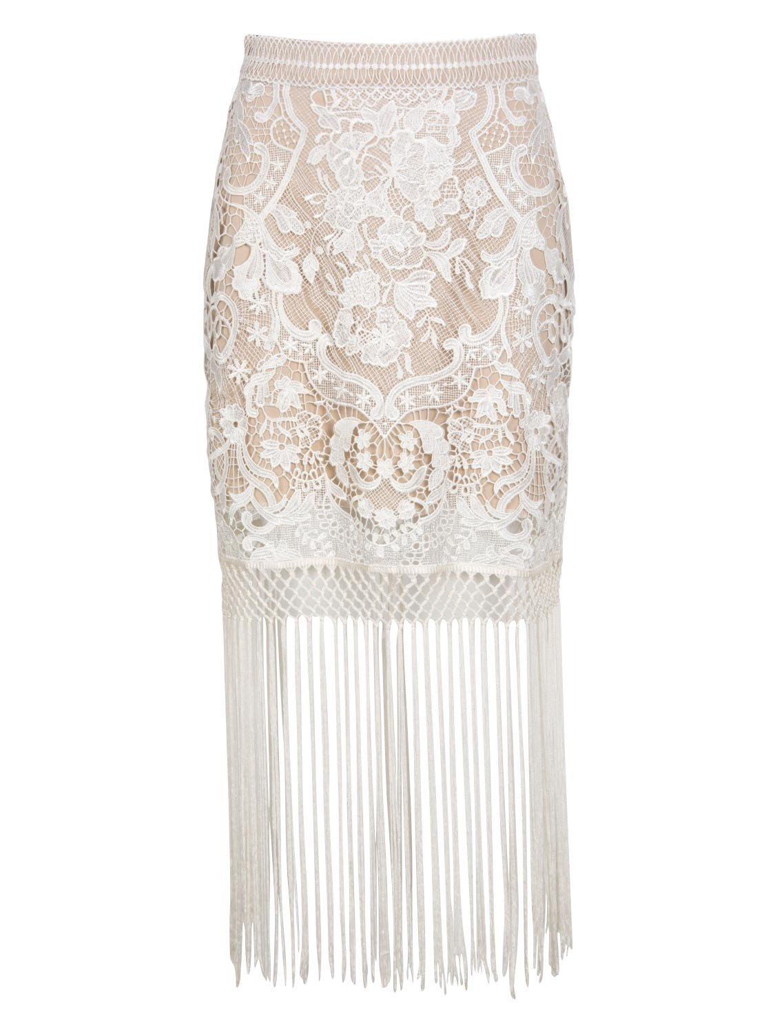 Choies Women White High Waist Tassel Crochet Mesh Lace Floral Midi Pencil Skirt XL