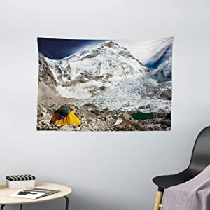 """Ambesonne Camper Tapestry, Everest Peak Base Camp Scenery on Snowy Mountain Climbing ICY High Peaks Art Image, Wide Wall Hanging for Bedroom Living Room Dorm, 60"""" X 40"""", White Grey"""