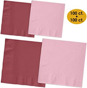 200 Napkins - Burgundy & Candy Pink - 100 Beverage Napkins + 100 Luncheon Napkins, 2-Ply, 50 Per Color Per Type