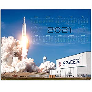 2021 Calendar - SpaceX Rocket Launch - Elon Musk - 11x14 Unframed Calendar Art Print - Great Gift and Decor For Aerospace Enthusiasts, Rocket and Space Transportation Geeks Under $15
