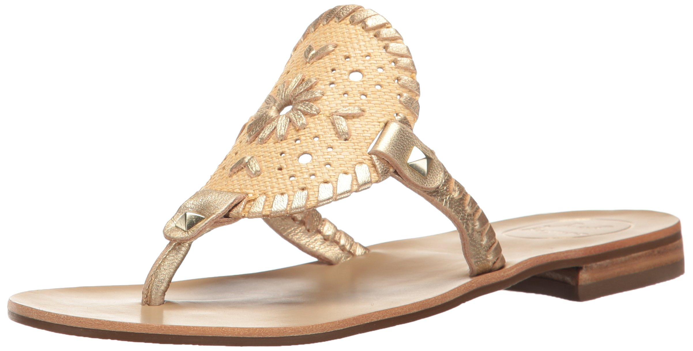 Jack Rogers Women's Georgica Raffia Dress Sandal, Natural Gold, 8 M US