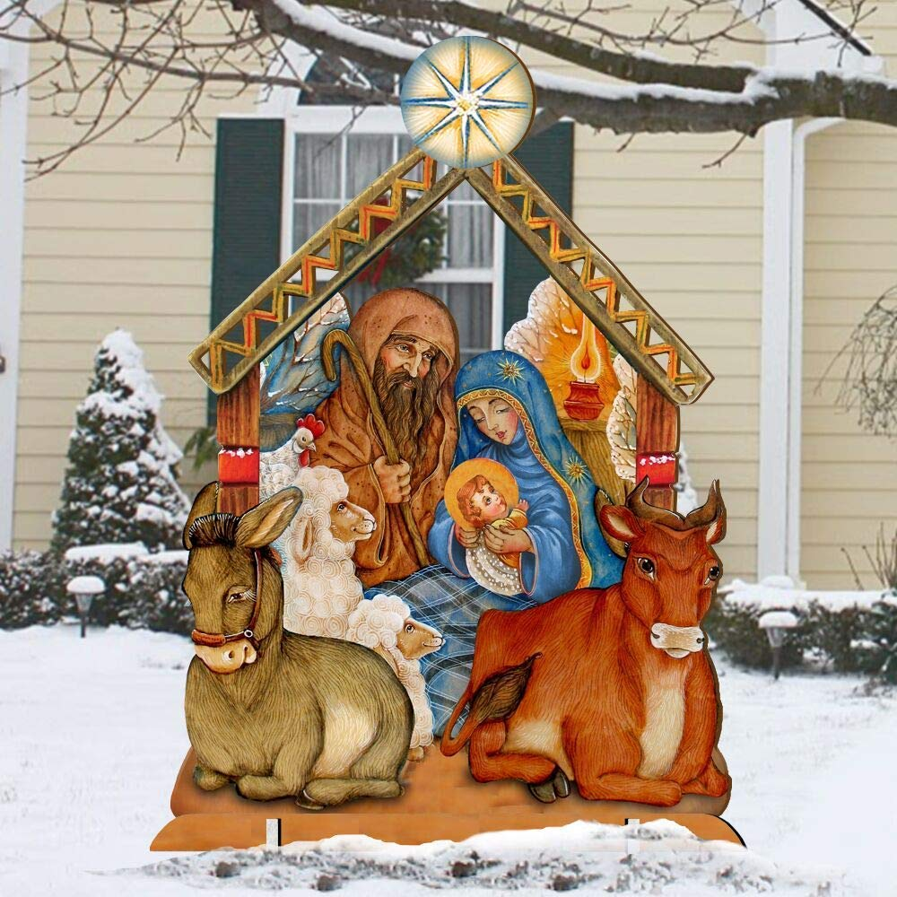 Outdoor Nativity Set Holly Family Front Yard Scene by G.DeBrekht 8114030F