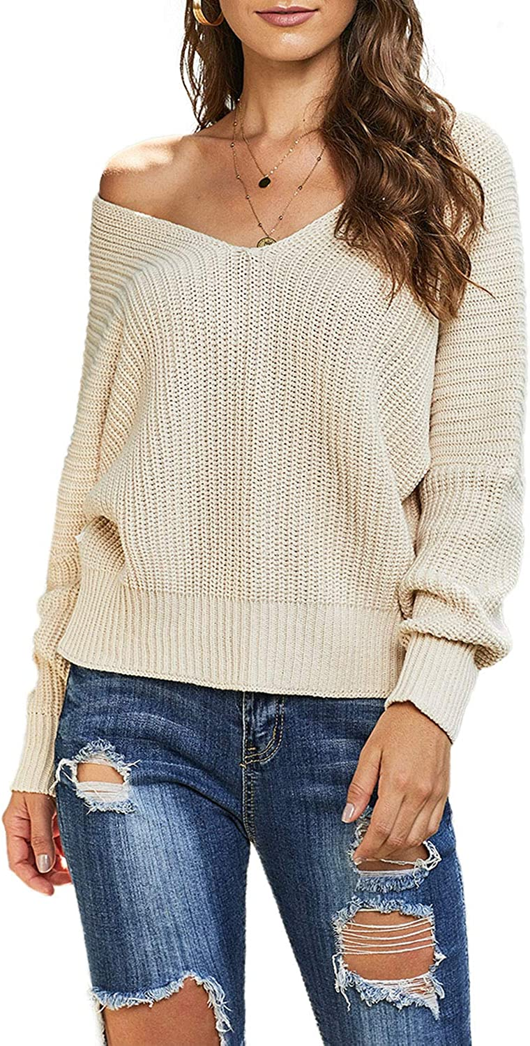 ROSKIKI Women's Casual Oversized Loose Long Sleeve Pullover Tops Bubblegum V-Neck Braided Knit Sweater