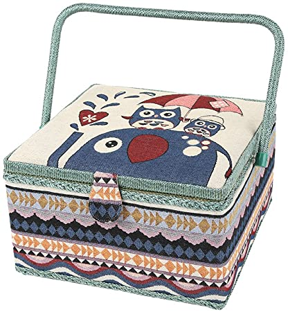 Large European Sewing Storage Box with Removable Tray Sewing Basket Organizer Embroidery Set Sewing Kit Storage Container Sewing Basket