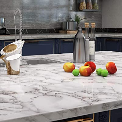 Buy Lacheery Large Size 160 X 36 Inch Grey White Marble Contact Paper For Countertops Waterproof Wallpaper Stick And Peel Marble Countertop Contact Paper For Kitchen Island Cabinets Furniture Decorative Online In