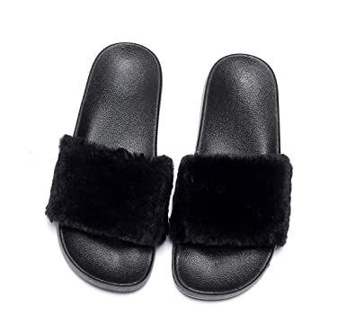 New! Ladie's Leather Slippers Faux Wool Womens Comfortable Hand Made Slip-on