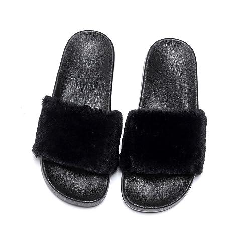 Havina Women's Faux Fur Soft Slide Flat Slipper Flip Flop Black 6.5-7 B(