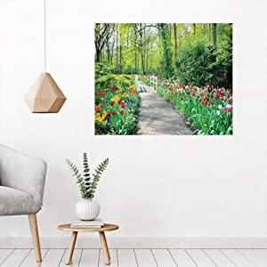 Country Decor Mural Sticker Poster, Tulips in Keukenhof Gardens Path Along Colorful Flowers Nature Picture Wall Painting Picture for Bedroom Hallway, 20