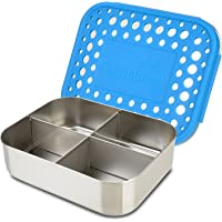 LunchBots Quad Stainless Steel Snack Container, 4 Sections