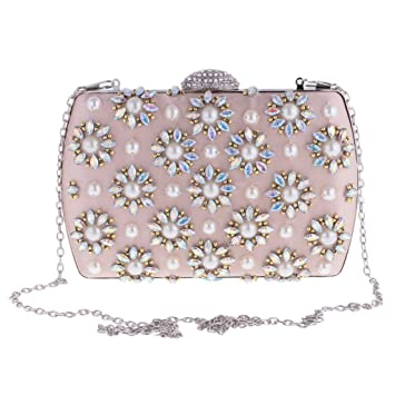 d6f265f92d Buy Phenovo Fashion Lady Crystal Pearl Handbag Wedding Evening Party Clutch  Bag Wallet Purse Gift Online at Low Prices in India - Amazon.in
