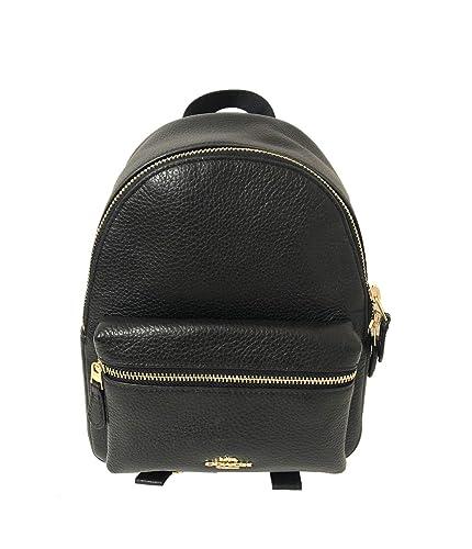 6a542659b6 Amazon.com  Coach Mini Charlie Pebble Leather Backpack (Black)  Shoes