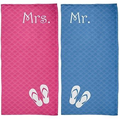Old Glory Mr. & Mrs. Honeymoon Pink & Blue All Over Beach Towel Set