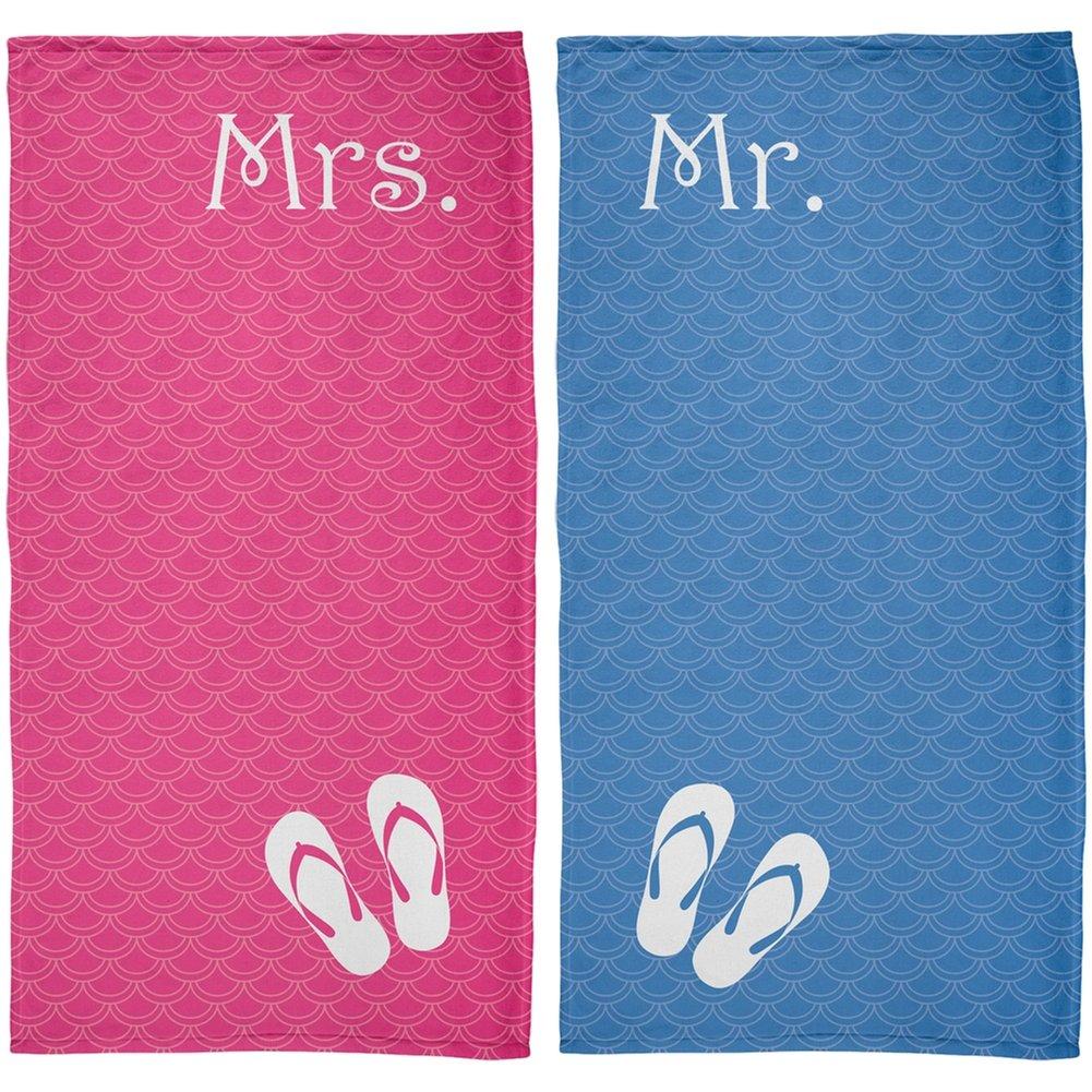 Mr. & Mrs. Honeymoon Pink & Blue All Over Beach Towel Set