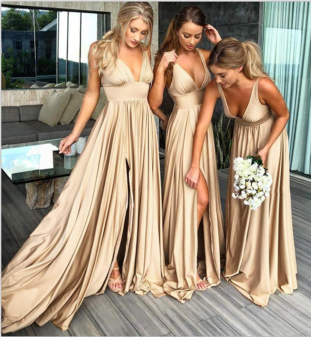 Women S Sexy V Neck Split Bridesmaid Dresses Long Backless Prom Dress Evening Gown 2019 Blush Size 8