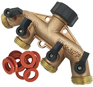 SOMMERLAND Heavy Duty Brass 4 Way Garden Hose Shut Off Connector (Brass Overmold-1PK)