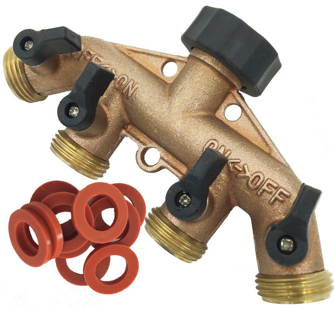 SOMMERLAND Heavy Duty Brass 4 Way Garden Hose Shut Off Connector (Brass Overmold-1PK)