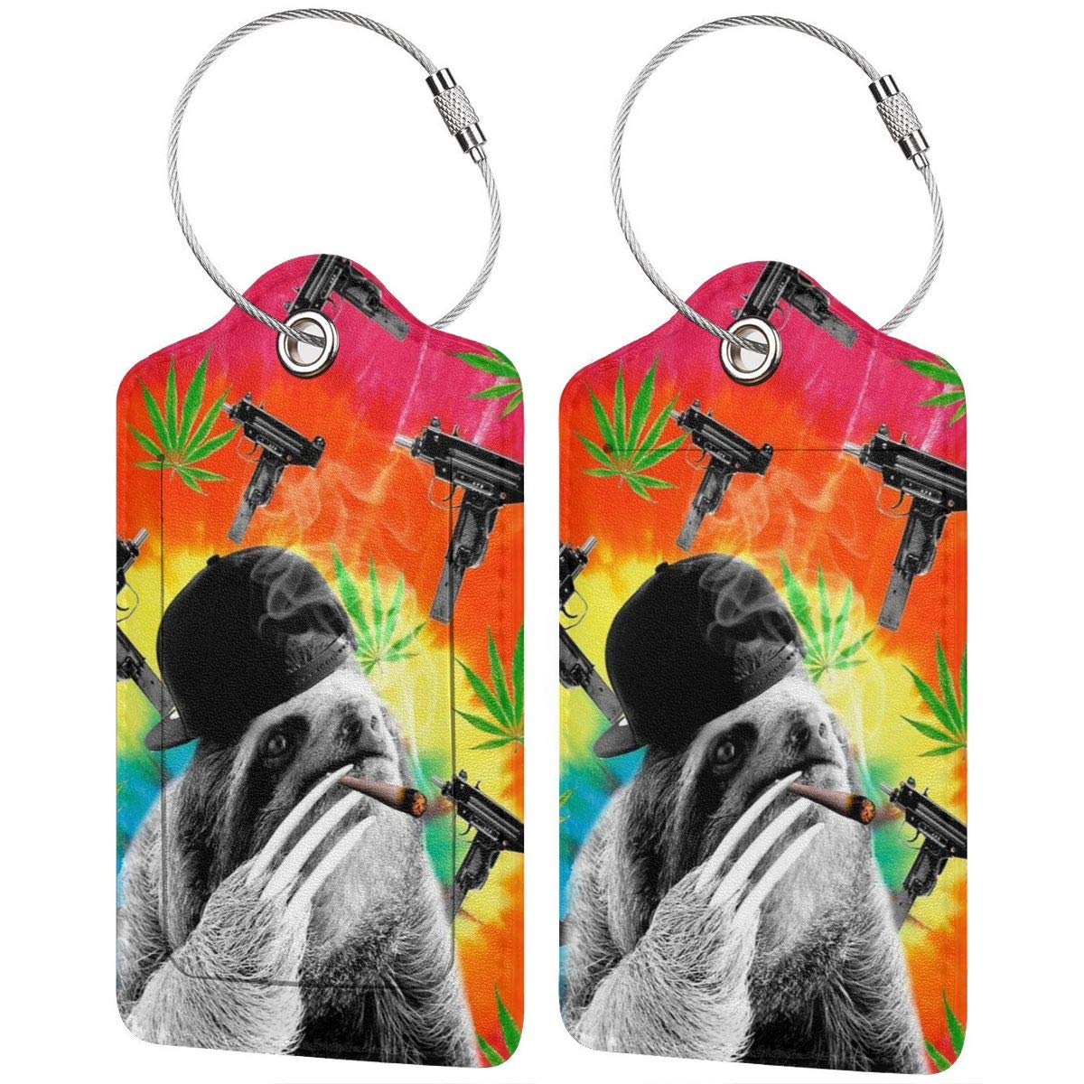 Leather Luggage Tag Sloth Gangsta Smoking Dope Marijuana Weed Luggage Tags For Suitcase Travel Lover Gifts For Men Women 4 PCS