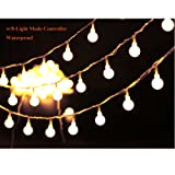 """Amazon Price History for:36ft Outdoor Globe String Lights LED Warm White Fairy Twinkle Lights(3/4"""" Dia Globe) with 8 Modes Controller & UL Listed Adaptor Plug &Transparent String Cable-for Festoon Party/Garden/Wedding Decor"""