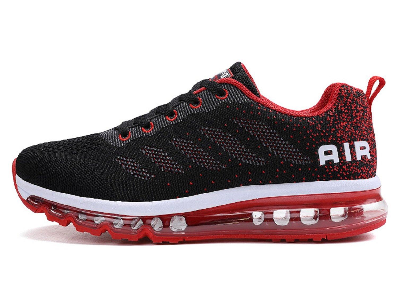 TQGOLD Men's Women's Air Cushion Athletic Running Shoes Lightweight Sport Gym Jogging Walking Shoes(Black Red 11 D(M) US Men/45 EU)