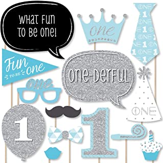 product image for Big Dot of Happiness 1st Birthday Boy - Fun to be One - First Birthday Party Photo Booth Props Kit - 20 Count