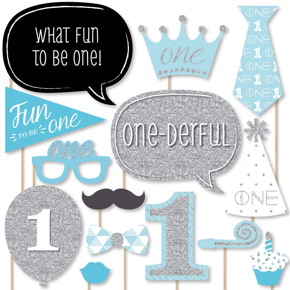 Big Dot of Happiness 1st Birthday Boy - Fun to be One - First Birthday Party Photo Booth Props Kit - 20 Count