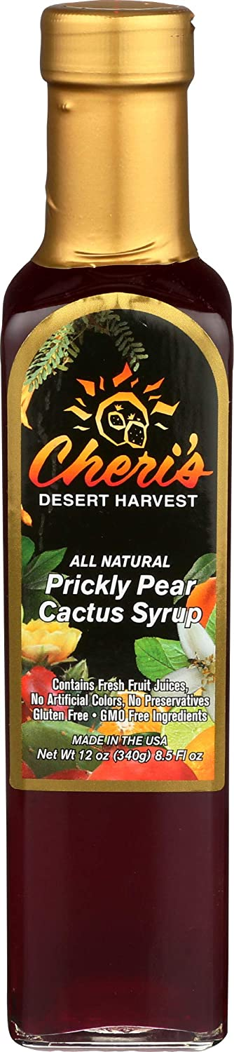 Prickly Pear Cactus Syrup - 12 oz - Sweet Flavor Made From Real Cacti Juice - Tasty Southwest Treat