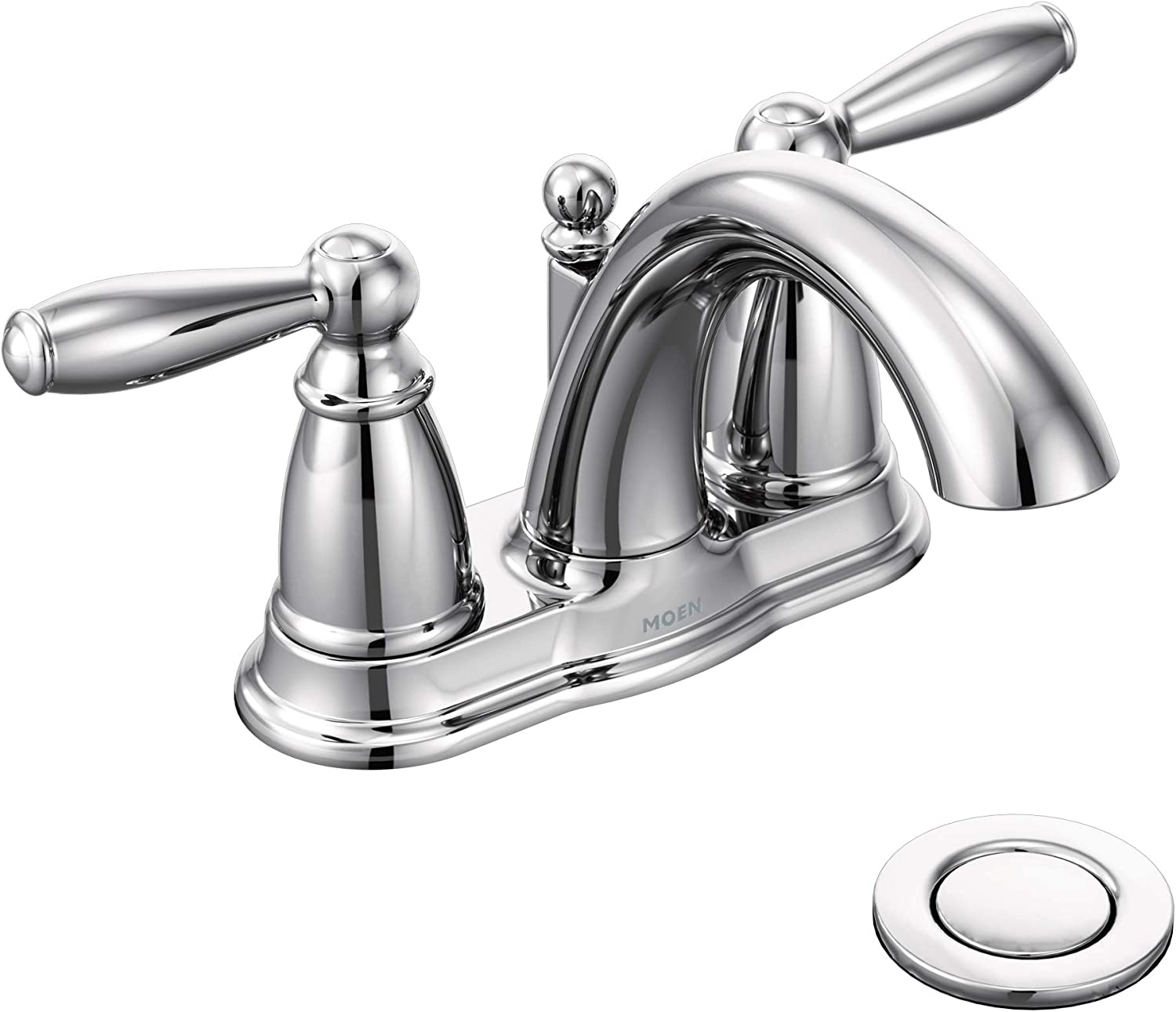 Moen 6610 Brantford Two Handle Low Arc Centerset Bathroom Faucet With Drain Assembly Chrome Touch On Bathroom Sink Faucets Amazon Com