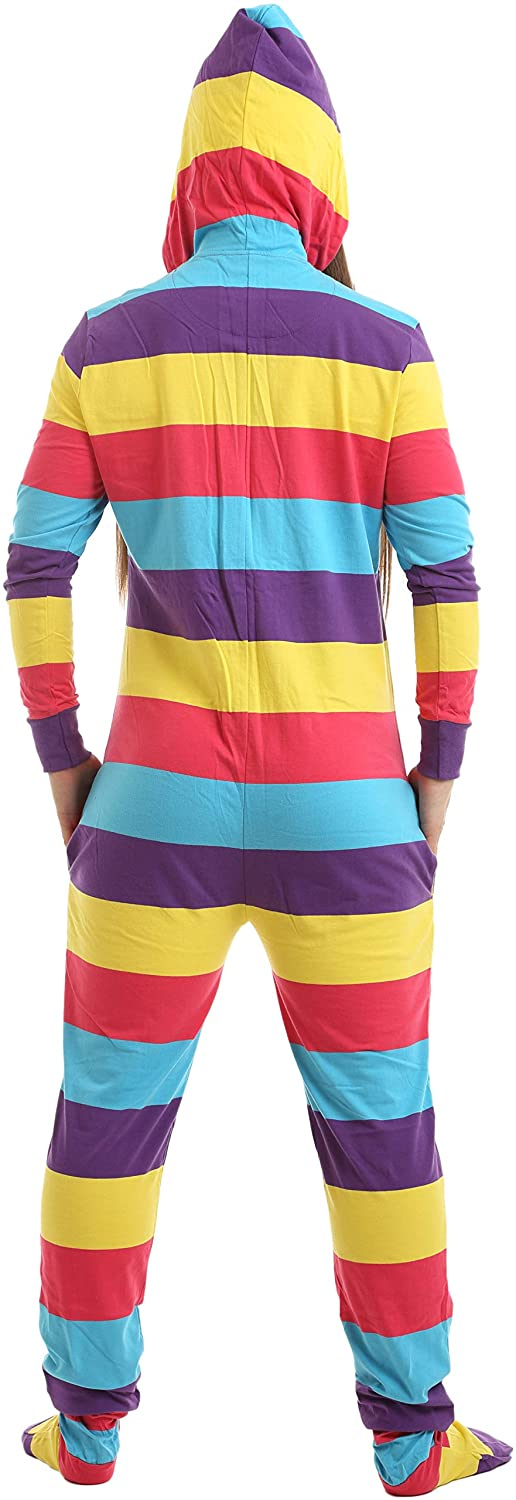 0148c41bd9 Funzee Adult Onesie Pjs Footed Pajamas Striped Playsuit Jumpsuit XS-XXL(Size  by Height) at Amazon Women s Clothing store  Nightgowns