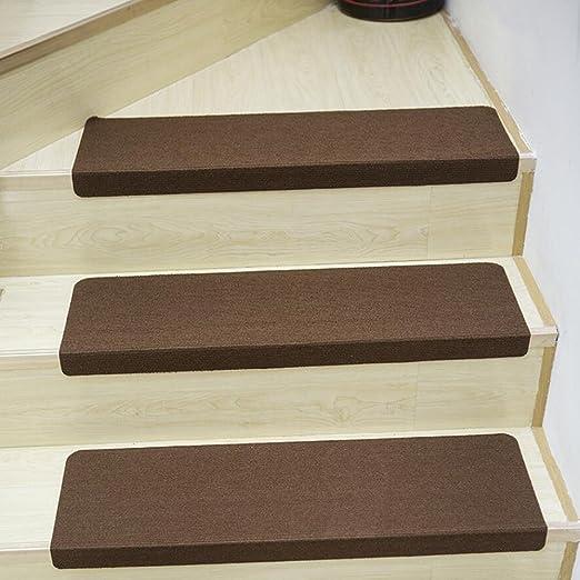 Luminoso bordado - alfombrilla para peldaños escalera antideslizante peldaños escalera decorativo, Runner Alfombra área Rugs - Alfombra para el hogar (2 pieza), poliéster, Solid Coffee, 21.7
