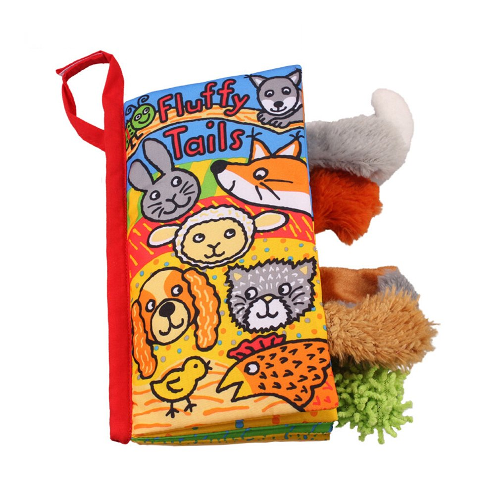 LOHOME Soft Cloth Books - Non-toxic Fabric Baby Early Education Toys Activity Crinkle Animals Cloth Book for Toddler, Infants and Kids - Perfect for Baby Shower (Puppy Tails)