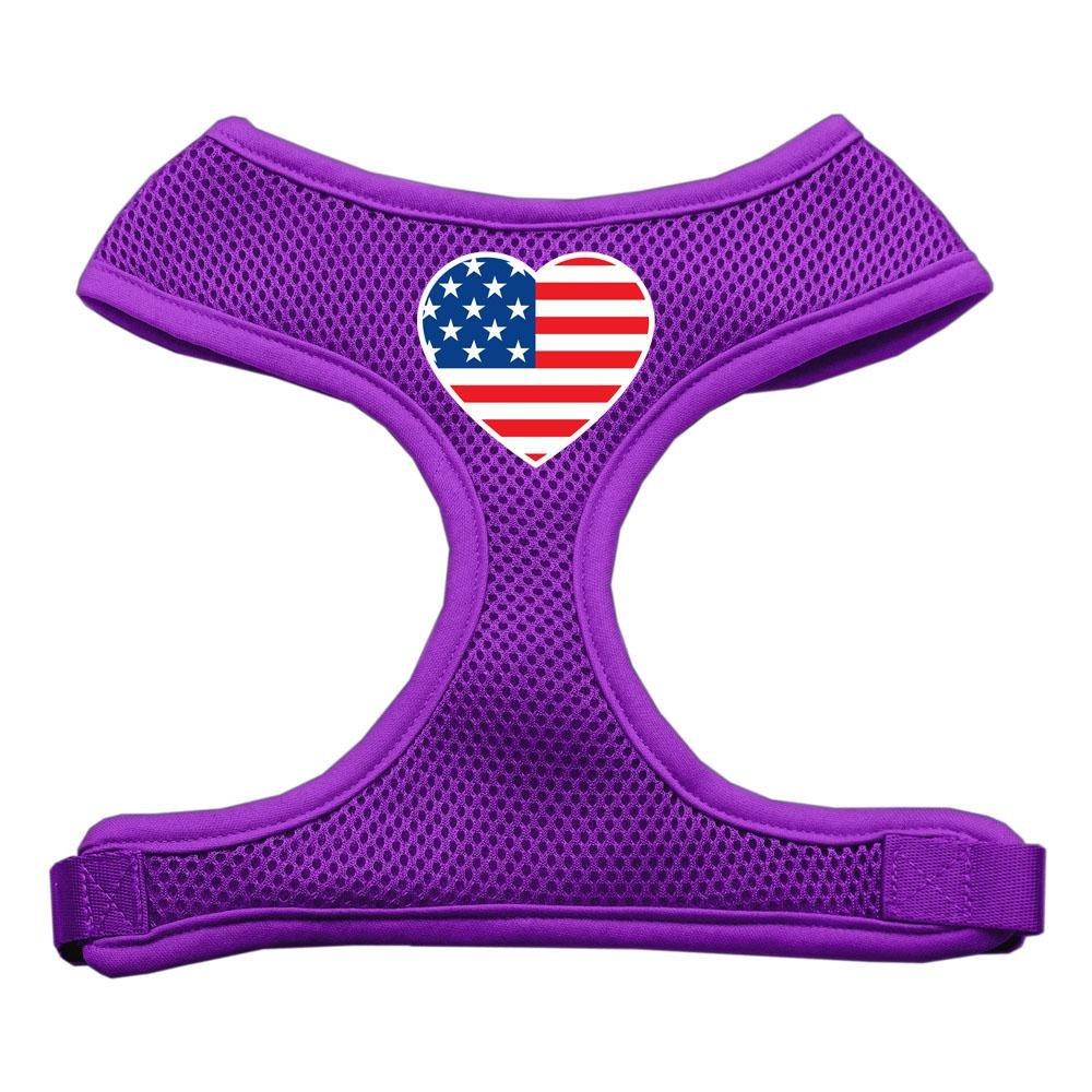 Mirage Pet Products Heart Flag USA Screen Print Soft Mesh Dog Harnesses, Medium, Purple
