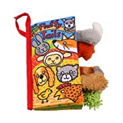 LO HOME Soft Cloth Books - Non-Toxic Fabric Baby Books Early Education Toys Activity Crinkle Animals Cloth Book for Toddler, Infants and Kids - Perfect for Baby Shower (Puppy Tails.)