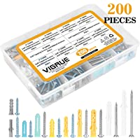 Vigrue 200-Piece Drywall Screws Anchors Self Drilling Ribbed Assortment Kit