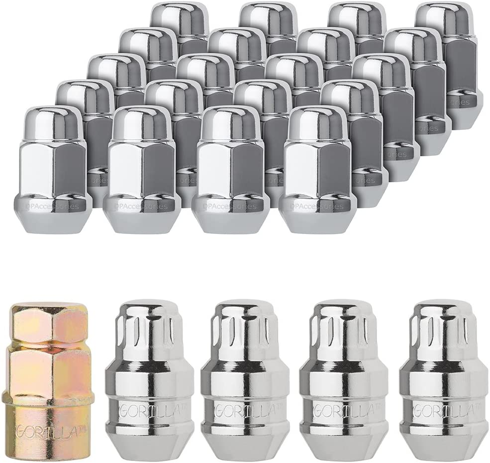 16 Lug Nuts DPAccessories LCB3B1HC2CH04KT5 5-Lug Chrome Wheel Installation Kit 7//16-20-3//4 Hex Wheel Installation Kit 4 Locks