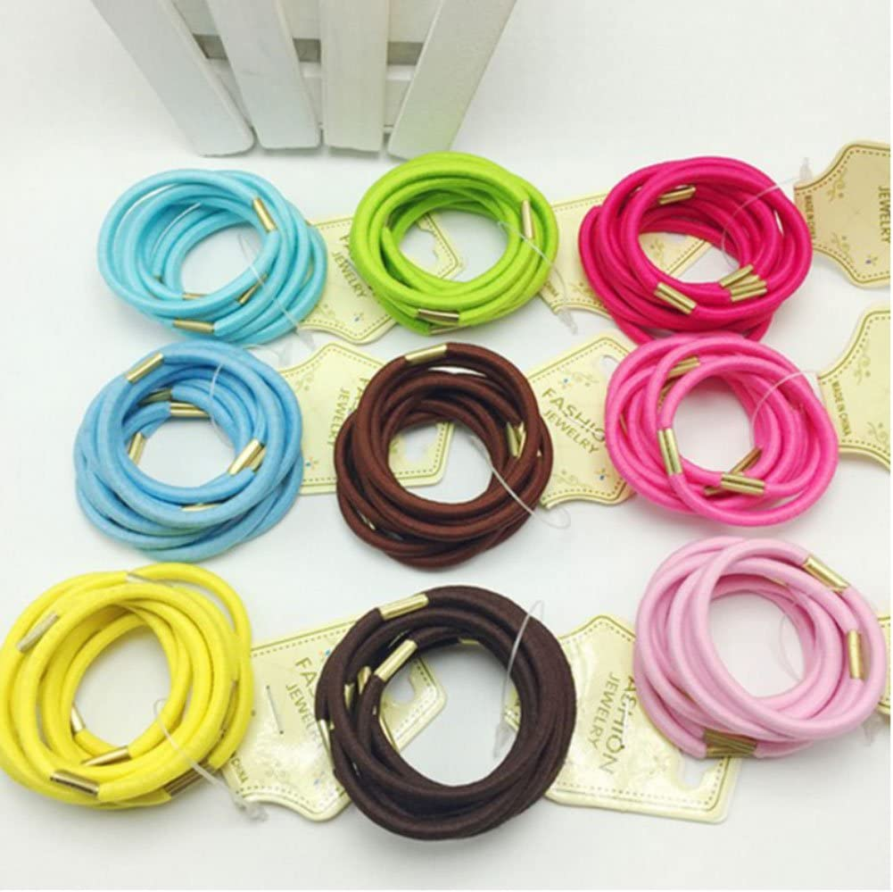 PIXNOR Las mujeres titulares de cola de caballo elástico, niñas pelo atar cuerda gomas - 50pcs (Color al azar)