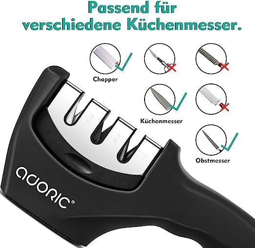 ADORIC Manuelle Messerschärfer Messerschleifer Messerschäfer 3 Stufen M