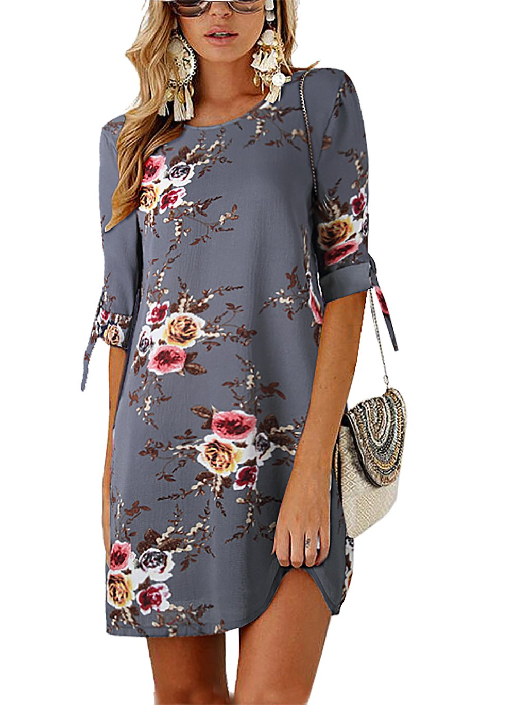 PRETTYGARDEN Women's Tie Sleeve Floral Print Swing Fit Crew Neck Casual Chiffon Plus Size Tunic T-Shirt Mini Dress (0881_Grey, XX-Large) by PRETTYGARDEN